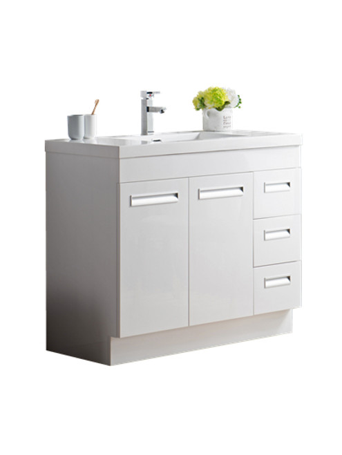 "Alma 42"" Glossy White Free Standing Right Side Modern Bathroom Vanity"