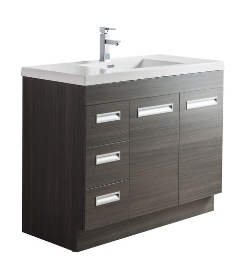 "Alma 42"" Grey Oak Free Standing Left Side Modern Bathroom Vanity"