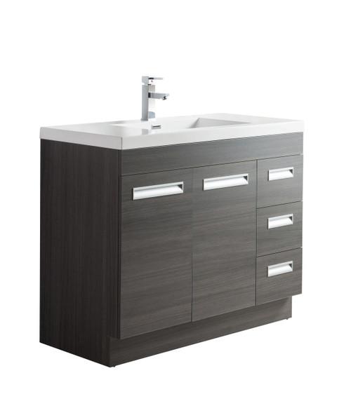 "Alma 42"" Grey Oak Free Standing Right Side Modern Bathroom Vanity"