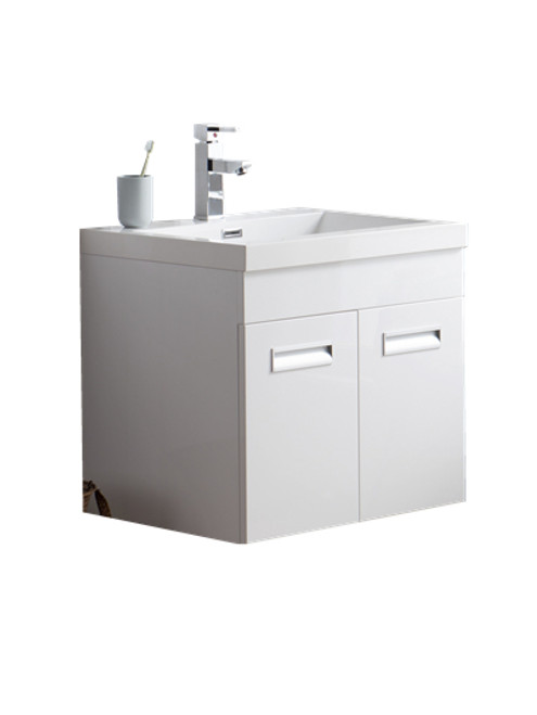 "Alma 24"" Glossy White Wall Hung Modern Bathroom Vanity"