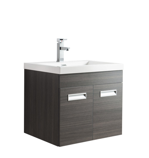 "Alma 24"" Grey Oak Wall Hung Modern Bathroom Vanity"
