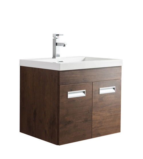 "Alma 24"" Rosewood Wall Hung Modern Bathroom Vanity"