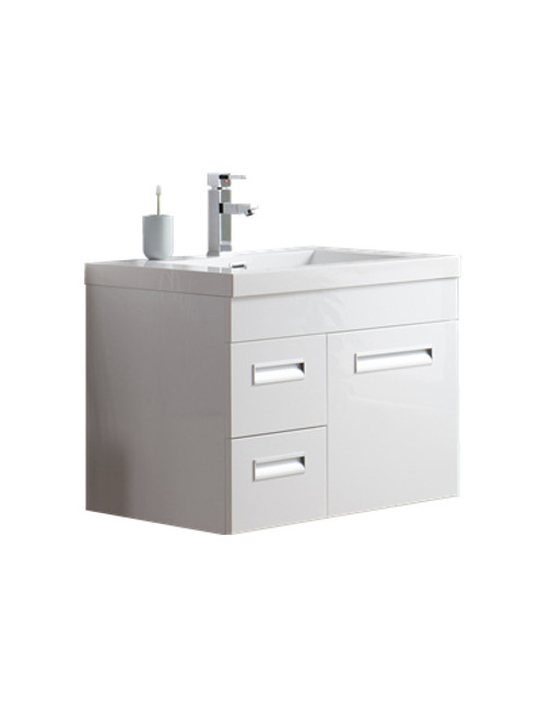 "Alma 30"" Glossy White Wall Hung Left Side Modern Bathroom Vanity"