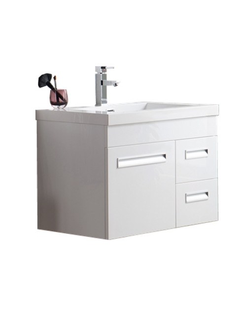 "Alma 30"" Glossy White Wall Hung Right Side Modern Bathroom Vanity"