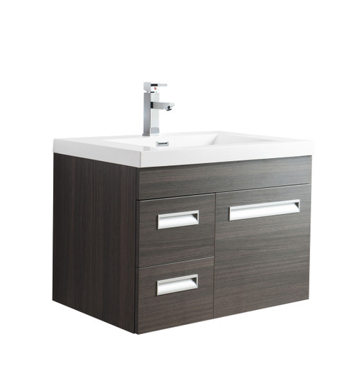 "Alma 30"" Grey Oak Wall Hung Left Side Modern Bathroom Vanity"