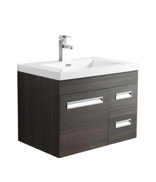 "Alma 30"" Grey Oak Wall Hung Right Side Modern Bathroom Vanity"