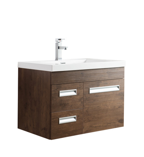 "Alma 30"" Rosewood Wall Hung Left Side Modern Bathroom Vanity"