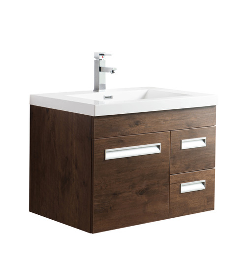 "Alma 30"" Rosewood Wall Hung Right Side Modern Bathroom Vanity"