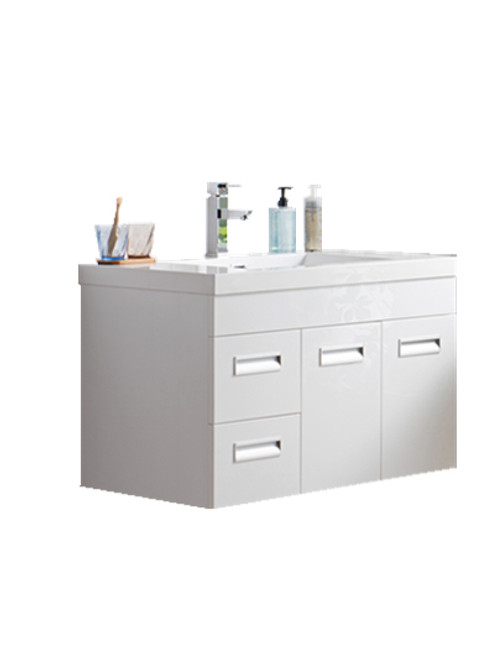 "Alma 36"" Glossy White Wall Hung Left Side Modern Bathroom Vanity"