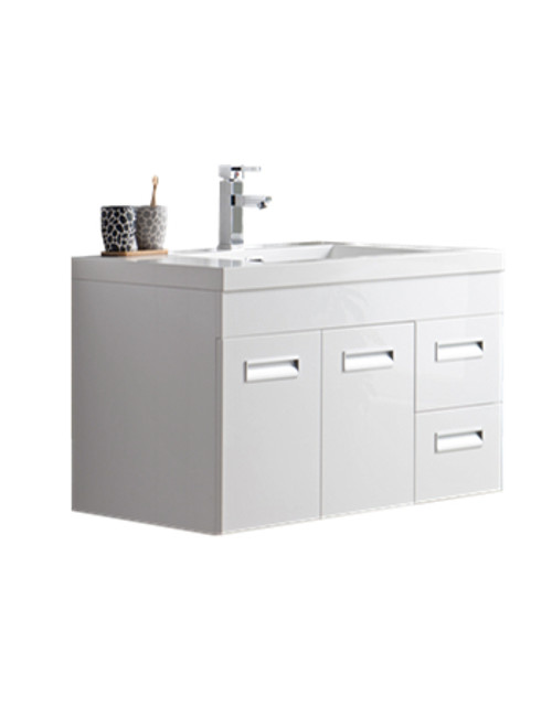 "Alma 36"" Glossy White Wall Hung Right Side Modern Bathroom Vanity"