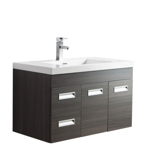 "Alma 36"" Grey Oak Wall Hung Left Side Modern Bathroom Vanity"