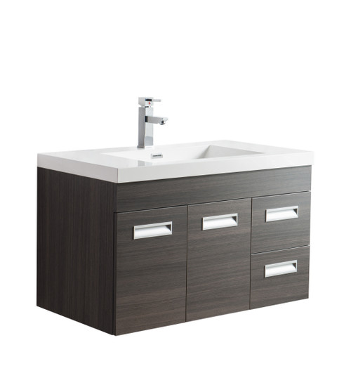 "Alma 36"" Grey Oak Wall Hung Right Side Modern Bathroom Vanity"