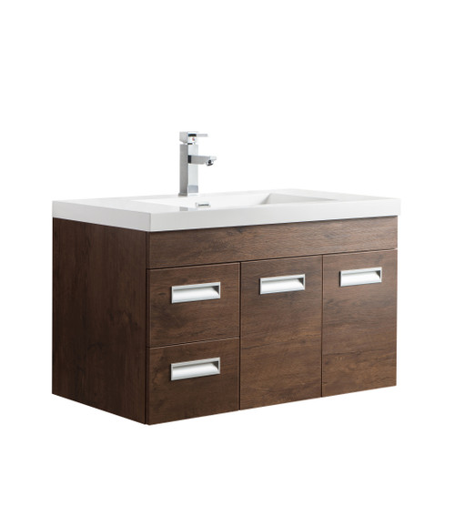 "Alma 36"" Rosewood Wall Hung Left Side Modern Bathroom Vanity"