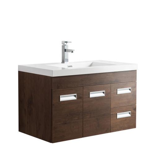 "Alma 36"" Rosewood Wall Hung Right Side Modern Bathroom Vanity"