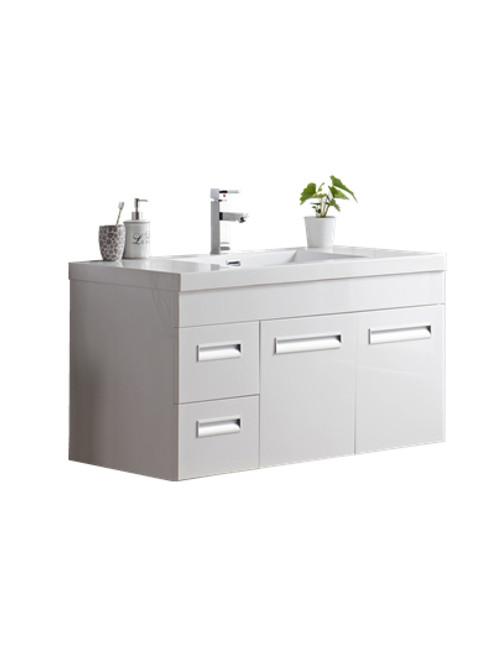 "Alma 42"" Glossy White Wall Hung Left Side Modern Bathroom Vanity"