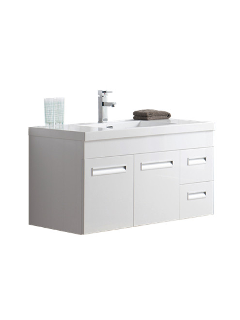"Alma 42"" Glossy White Wall Hung Right Side Modern Bathroom Vanity"