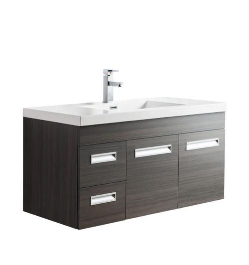 "Alma 42"" Grey Oak Wall Hung Left Side Modern Bathroom Vanity"