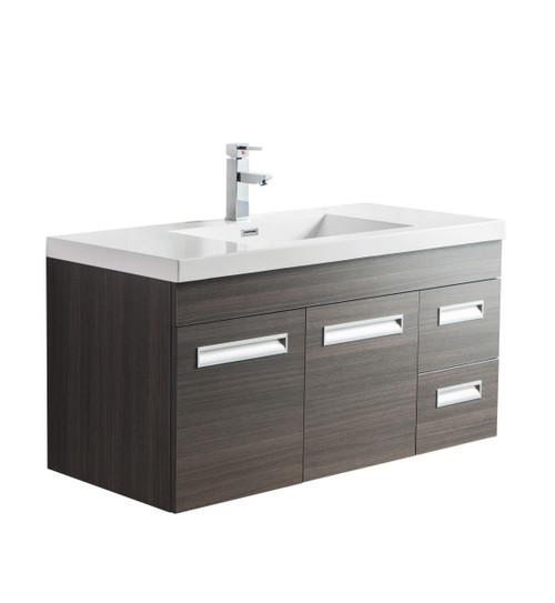 """Alma 42"""" Grey Oak Wall Hung Right Side Modern Bathroom Vanity"""