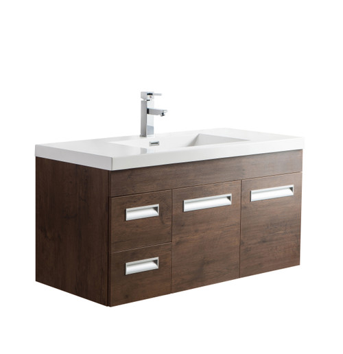 "Alma 42"" Rosewood Wall Hung Left Side Modern Bathroom Vanity"