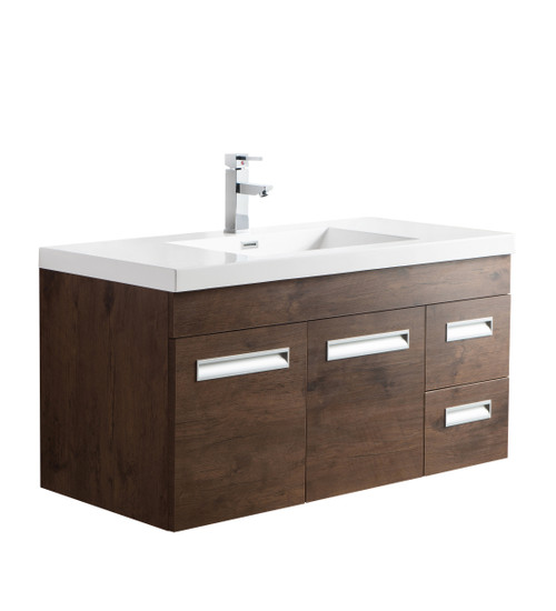 "Alma 42"" Rosewood Wall Hung Right Side Modern Bathroom Vanity"