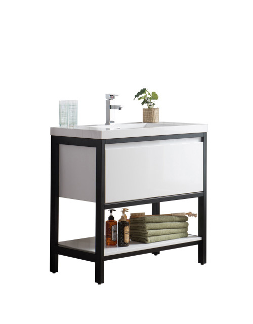 """Lake 36"""" Glossy White Free Standing Modern Bathroom Vanity with Matte Black Stainless Steel Frame with Acrylic Sink"""