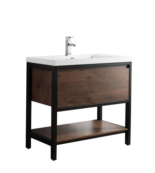 "Lake 36"" Rosewood Free Standing Modern Bathroom Vanity with Matte Black Stainless Steel Frame with Acrylic Sink"