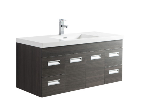 "Alma 48"" Grey Oak Wall Hung Modern Bathroom Vanity"
