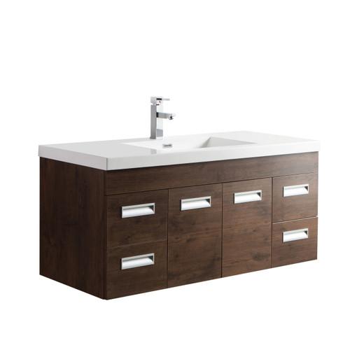 """Alma 48"""" Rosewood Wall Hung Modern Bathroom Vanity"""