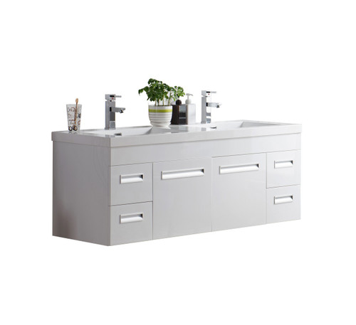 "Alma 60"" Glossy White Wall Hung Modern Bathroom Vanity"