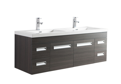 "Alma 60"" Grey Oak Wall Hung Modern Bathroom Vanity"