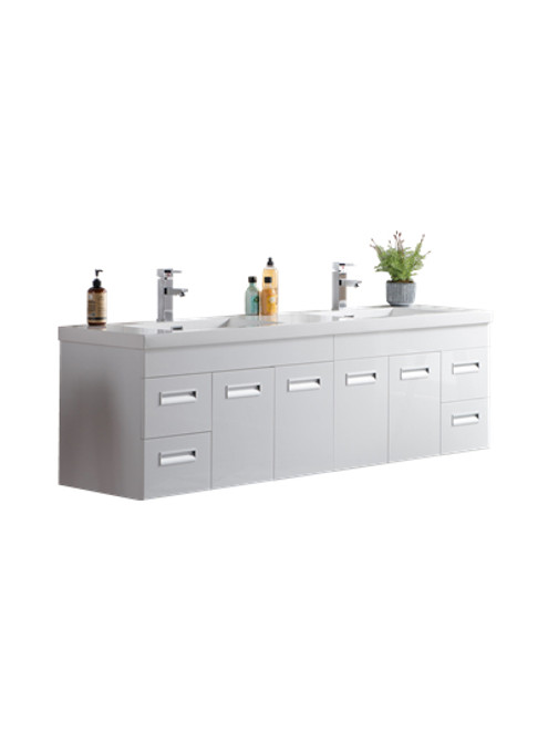 "Alma 72"" Glossy White Wall Hung Modern Bathroom Vanity"