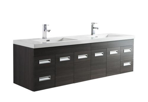 "Alma 72"" Grey Oak Wall Hung Modern Bathroom Vanity"