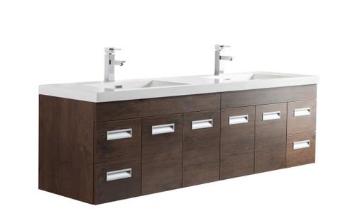 """Alma 72"""" Rosewood Wall Hung Modern Bathroom Vanity"""