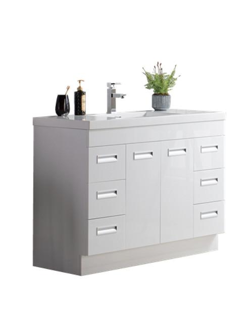 "Alma 48"" Glossy White Free Standing Modern Bathroom Vanity"