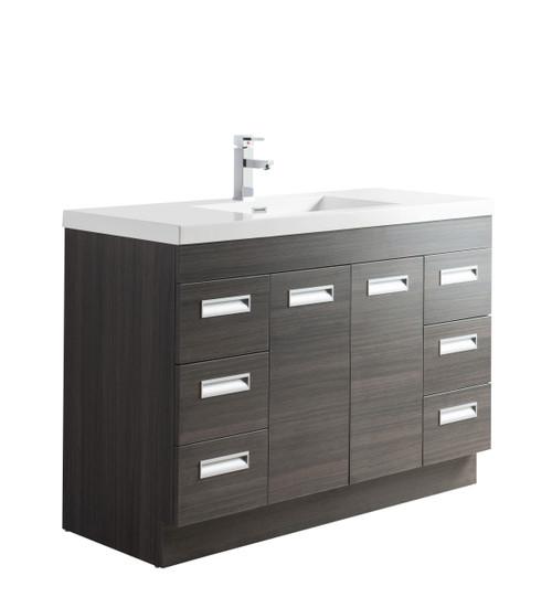 """Alma 48"""" Grey Oak Free Standing Modern Bathroom Vanity"""