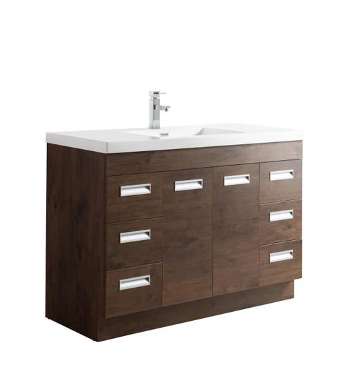 """Alma 48"""" Rosewood Free Standing Modern Bathroom Vanity"""