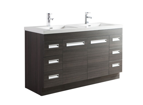 "Alma 60"" Grey Oak Free Standing Modern Bathroom Vanity"