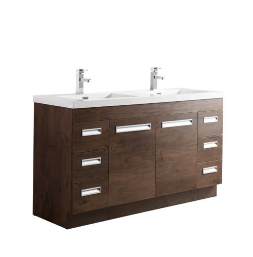 """Alma 60"""" Rosewood Free Standing Modern Bathroom Vanity"""