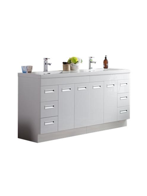 "Alma 72"" Glossy White Free Standing Modern Bathroom Vanity"
