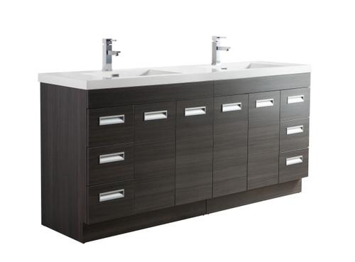 """Alma 72"""" Grey Oak Free Standing Modern Bathroom Vanity"""