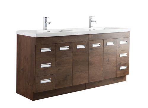 """Alma 72"""" Rosewood Free Standing Modern Bathroom Vanity"""