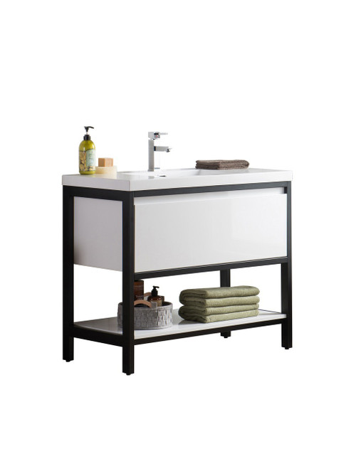 """Lake 42"""" Glossy White Free Standing Modern Bathroom Vanity with Matte Black Stainless Steel Frame with Acrylic Sink"""