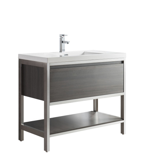 """Lake 42"""" Grey Oak Free Standing Modern Bathroom Vanity with Chrome Stainless Steel Frame with Acrylic Sink"""