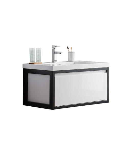 "Lake 36"" Glossy White Wall Hung Modern Bathroom Vanity with Matte Black Stainless Steel Frame with Acrylic Sink"