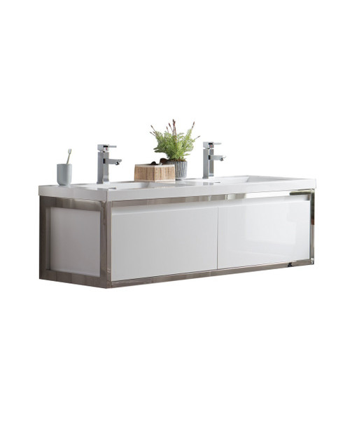 "Lake 60"" Glossy White Wall Hung Modern Bathroom Vanity with Chrome Stainless Steel Frame with Acrylic Sink"