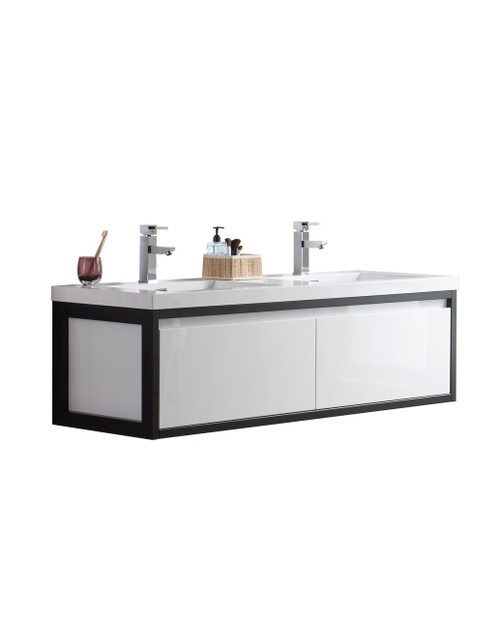 "Lake 60"" Glossy White Wall Hung Modern Bathroom Vanity with Matte Black Stainless Steel Frame with Acrylic Sink"