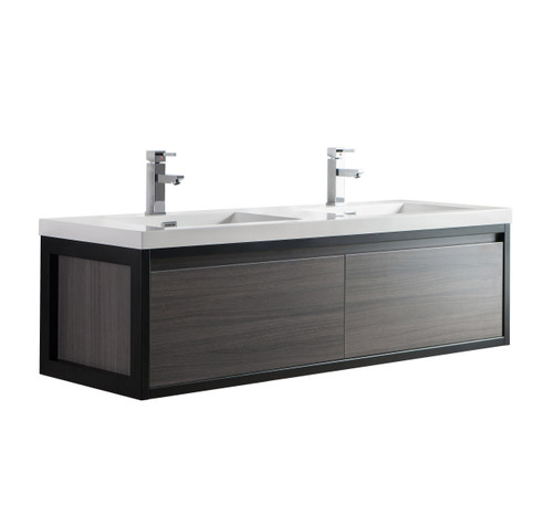 """Lake 60"""" Grey Oak Wall Hung Modern Bathroom Vanity with Matte Black Stainless Steel Frame with Acrylic Sink"""