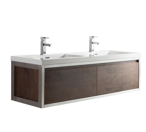 """Lake 60"""" Rosewood Wall Hung Modern Bathroom Vanity with Chrome Stainless Steel Frame with Acrylic Sink"""