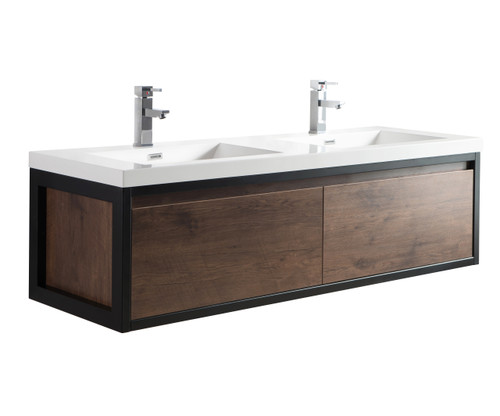 """Lake 60"""" Rosewood Wall Hung Modern Bathroom Vanity with Matte Black Stainless Steel Frame with Acrylic Sink"""