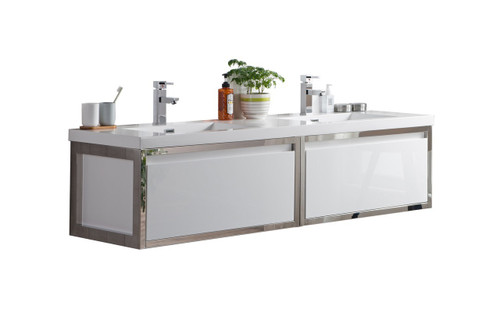 """Lake 72"""" Glossy White Wall Hung Modern Bathroom Vanity with Chrome Stainless Steel Frame with Acrylic Sink"""